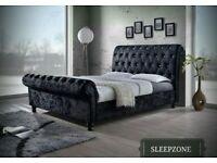 ❋❋ BEST SELLING BRAND ❋❋ NEW DOUBLE OR KING CRUSHED VELVET SLEIGH DESIGNER BED FRAME WITH MATTRESS
