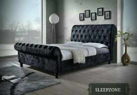 SPEICAL PROMOTION ! CRUSHED VELVET FABRIC SLEIGH DOUBLE SIZE BED FRAME IN BLACK / SILVER