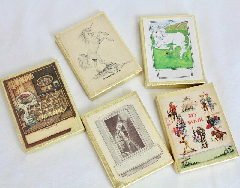 Lot of 5 boxes Antioch Bookplates Unicorns Mouse Man on Ladder Book plate belong
