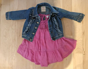Old Navy summer dress with jeans jacket, size 12 - 18m