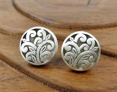 Sterling Floral Earrings - Brushed Matte Sterling Silver Open Scroll Vine Floral Round Stud Post Earrings