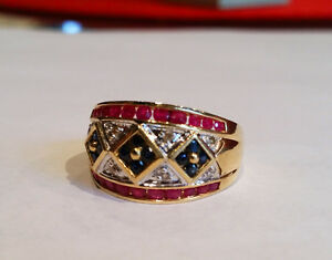 Gorgeous 14K Gold Natural Sapphire, Ruby & Diamond Ring TCW1.70