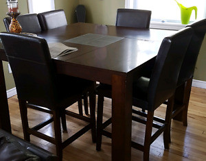 Pub style dining table and 6 chairs