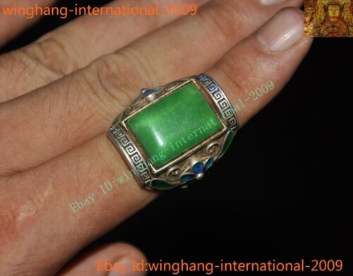 Old China palace dynasty silver Cloisonne inlay Green Jade Gem amulet Ring Rings