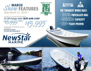 New Panga Style Skiff  -  inshore fishing boat and 25HP - NS