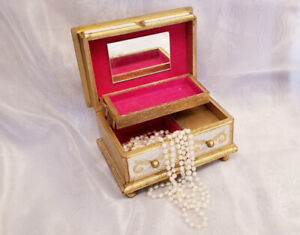 Vintage Florentine Gold Wood Musical Jewelry Box