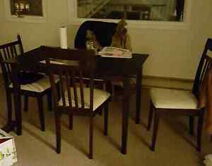 Wood dining table and chair set
