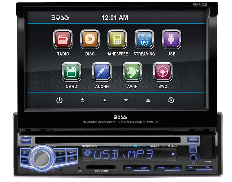 $104.90 - BOSS BV9976B 1 DIN CAR DVD/CD PLAYER 7 MONITOR USB BLUETOOTH COLOR CHANGING FACE