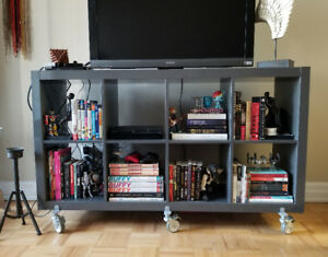 Glossy Grey BookShelf/Console on Casters ($40.00)
