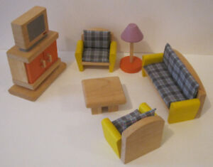 Ten Piece Mid-Century Modern Style Dollhouse Furniture Plan Toys