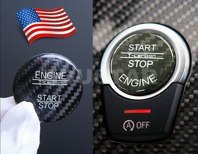 US STOCK for BMW X5 X6 GENUINE CARBON Cover Engine Start Stop Push Button BLACK
