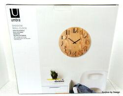 **NEW SEALED** Umbra Shadow Wall Clock, Natural