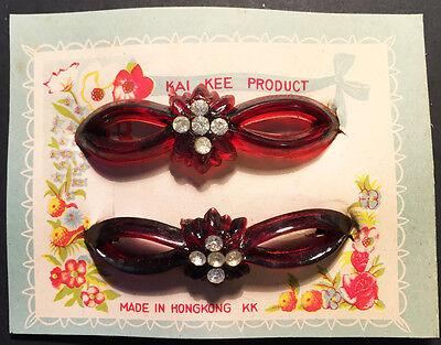 2 Gorgeous 1940s Perspex + Diamante Hair Slides 9cm wide