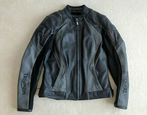 Black Leather Riding Jacket. Triumph Motorcycle Women's Size L