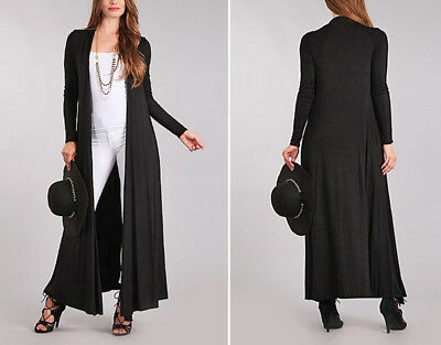 5a52f50b3f8dd3 Women's Maxi Cardigan Sweater Duster Long Sleeves Open Front Solid Colors  Knit