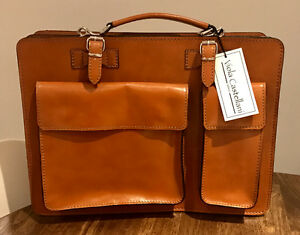 Milan Leather Crossbody Briefcase Bag