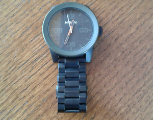 Men's Nixon Corporal SS matte black and industrial green watch.