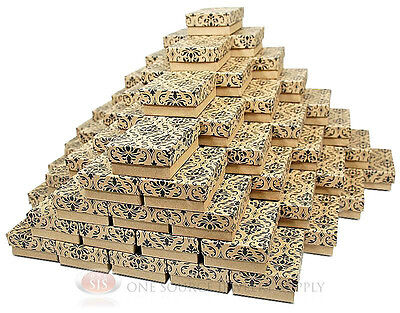 "(100) Damask Print Kraft 3 1/4"" X 2 1/4"" Cotton Filled Jewelry Gift Boxes"
