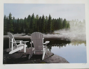 John Harrington Ltd print - loons & Muskoka Chairs