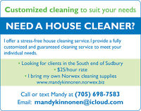 House Cleaner in Sudbury's SOUTH END