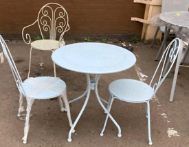 Metal Garden Outdoor Table £40. with 2 Chairs only £85. Real