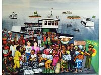 Highly Collectible MONSENGWO KEJWAMFI 'MOKÉ' Painting - 'BRAZZAVILLE FERRY SCENE'