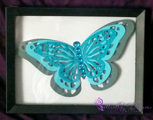 Teal Butterfly Shadow Box