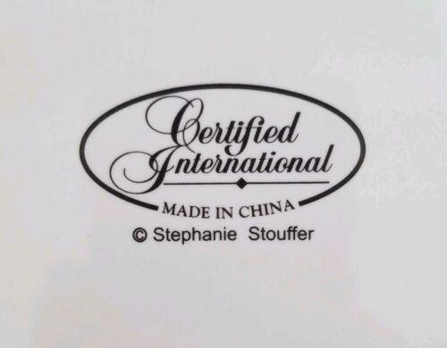 2 CELESTIAL SANTA Dinner Plates Stephanie Stouffer Certified International Horn - $42.95