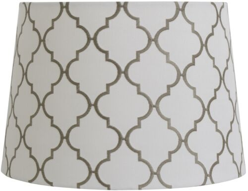 Drum Lamp Shade White and Gray Embroidery Quatrefoil Design