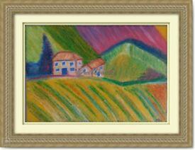 Original Hand Painted Oil Pastels Art Painting Landscape decoration