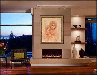 NO RESERVE Edna Hibel Original Oil Painting On Board Signed Portrait Large - Board Signed