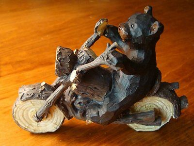 Black Bear Biker Motorcycle Figurine Faux Wood Carved Log Cabin Lodge Home -