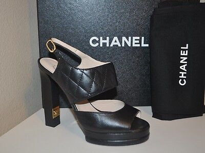 NIB CHANEL 14C Black Quilted Leather Platform Chunky Heel Logo Sandal Shoes 365