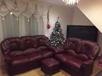 Black Cherry, 3 seater & 2 seater sofa set, with a leg rest.