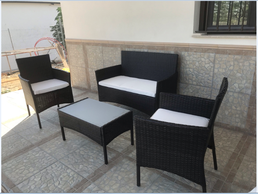 Garden Furniture - 4 piece Rattan Garden Furniture Set Chair Black Wicker beige Cushion Sofa Table