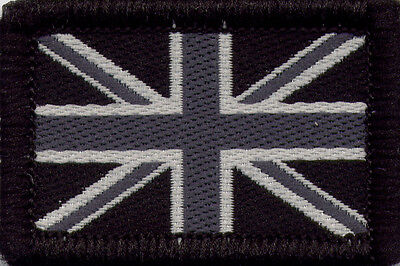 Union Jack UK British Flag Woven Badge Patch Monochrome 4 x 2.7cm