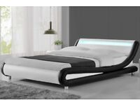 Madrid LED lights black & white designer Bed frame King size