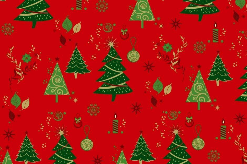 Weihnachts Stoffe Jersey & Baumwolle & Sweat / 28 Motive Meterware Weihnachten Baumwolle Tannenbaum rot