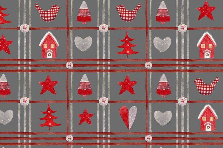 Weihnachts Stoffe Jersey & Baumwolle & Sweat / 28 Motive Meterware Weihnachten Baumwolle Weihnachten grau/rot