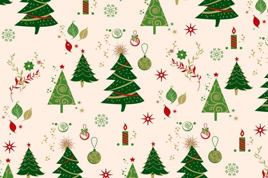 Weihnachts Stoffe Jersey & Baumwolle & Sweat / 28 Motive Meterware Weihnachten Baumwolle Tannenbaum creme/grün