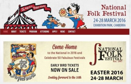 2 Season Tickets with Camping at National Folk Festival 2016 Valentine Lake Macquarie Area Preview