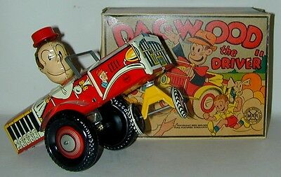 Louis Marx Blondie's Dagwood Driver Tin Toy Wind-Up in Original Box Circa 1942