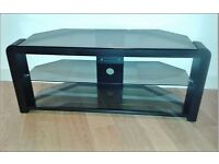 Black And Tinted Glass Corner TV Stand