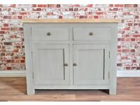 Rustic Wood Sideboard Dresser with Two Drawers in Matt French Grey Finish