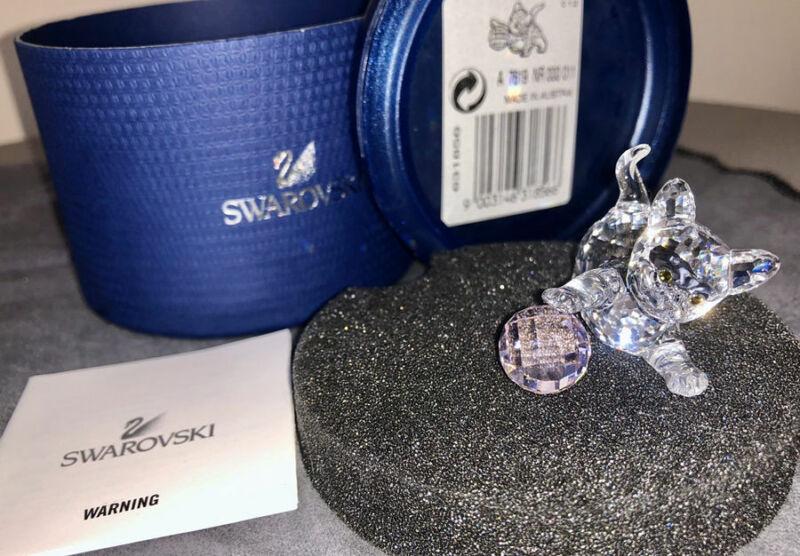 Swarovski Crystal Standing Kitten with pink crystal wool ball 631856