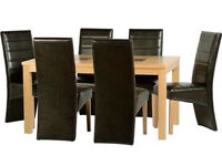 """Wexford 59"""" Dining Table With 6 Brown Leather Chairs"""