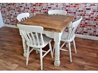 3-6 FT Extending Rustic Farmhouse Dining Table Set Drop Leaf Painted in Farrow & Ball Space Saving