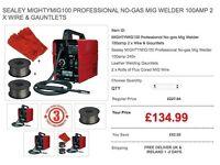 Sealey Welder deal MIGHTYMIG100 Professional No-gas Mig Welder 100amp 2 x Wire & Gauntlets