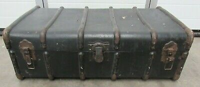 Vintage Drawco Brown Steamboat Trunk Storage Coffee Table Toy Box - FUR