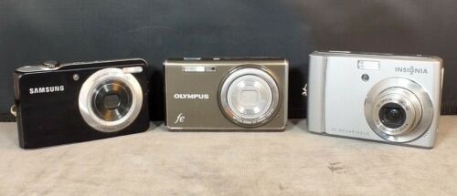 Lot 3 Digital Cameras Insignia Samsung Olympus MS58